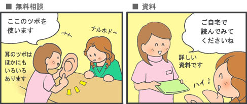 無料相談で詳しい説明を受けて資料をもらって帰る女性の漫画